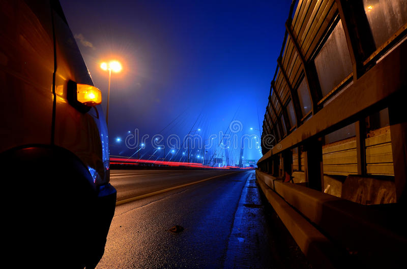 Truck night at the bridge stock images