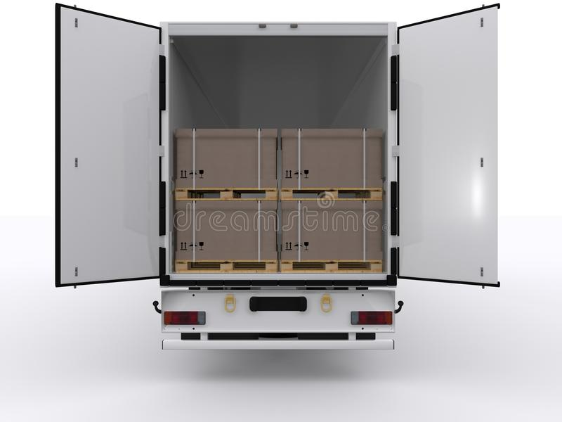 Truck with open trailer stock image