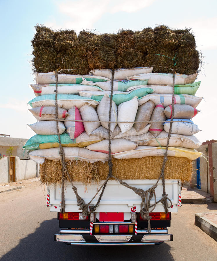 Download Truck overloaded bags stock photo. Image of behind, heavy - 15902594