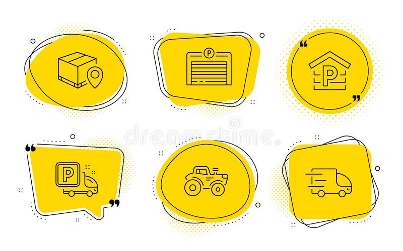 Truck parking, Parking and Tractor icons set. Parcel tracking, Truck delivery signs. Vector. Parcel tracking, Truck delivery signs. Chat bubbles. Truck parking royalty free illustration