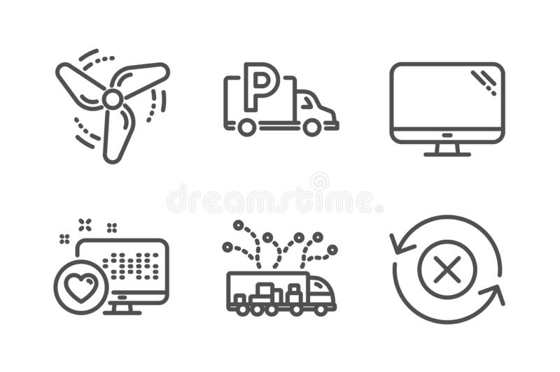 Truck Parking Wind Energy And Truck Delivery Icons Set