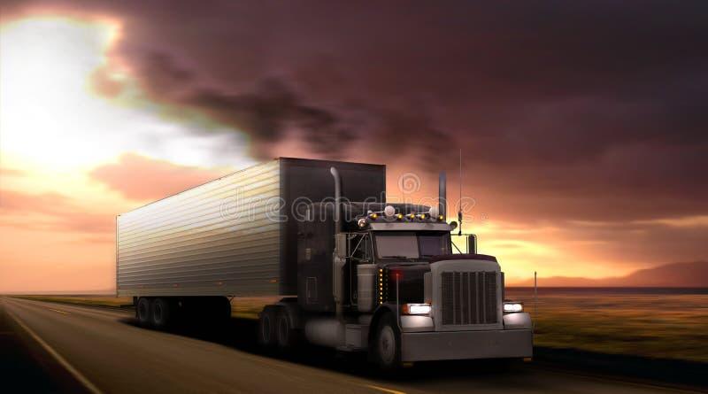 Truck peterbilt on highway. stock illustration
