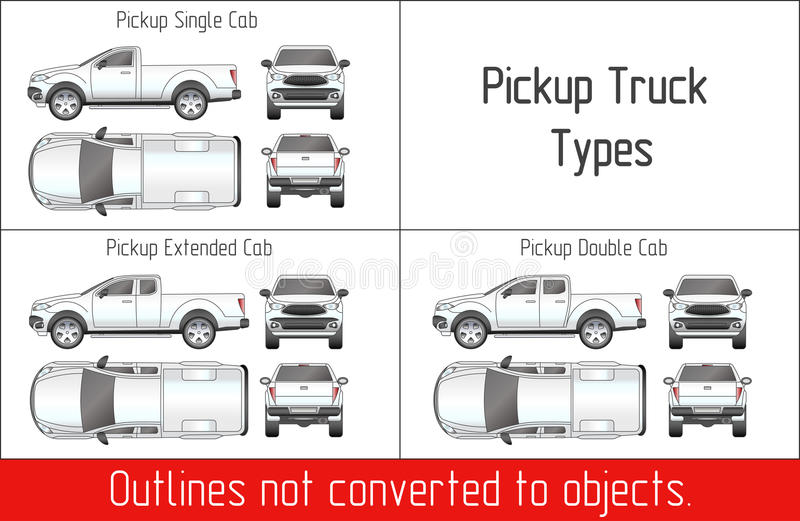 TRUCK Pickup Types Template Drawing Vector Outlines Not Converted To ...