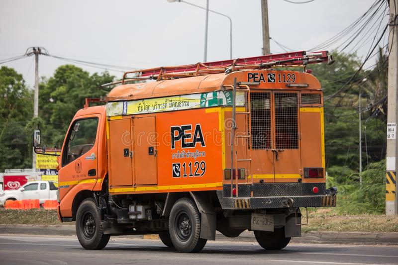 Truck of Provincial eletricity Authority of Thailand royalty free stock photo