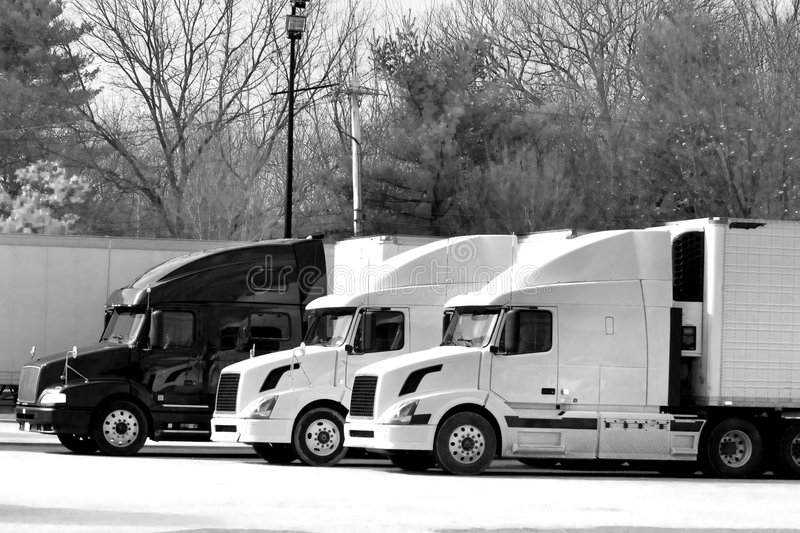 Truck rest area. Truck trailers on rest area along american Interstate 95 royalty free stock image