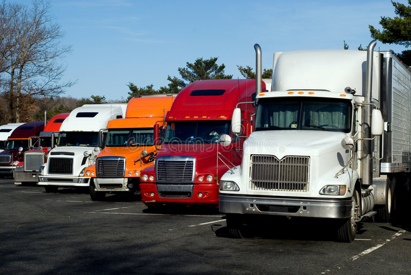 Truck rest area. Truck trailers on rest area along american Interstate 95 stock image