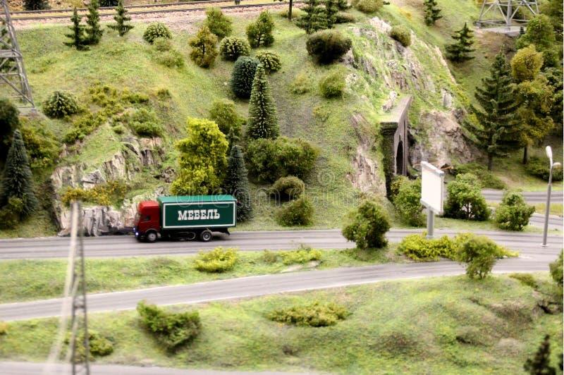 Truck rides on a mountain road Macro shot. royalty free stock photos