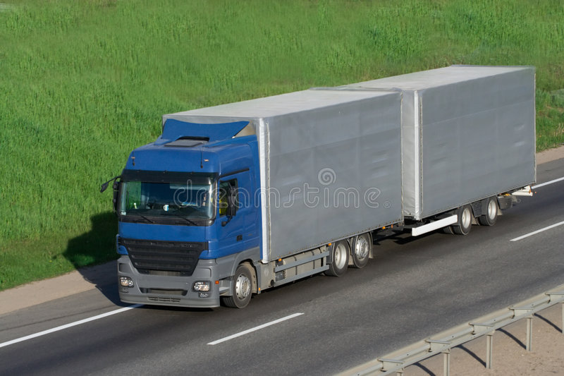 The truck on a road stock photo