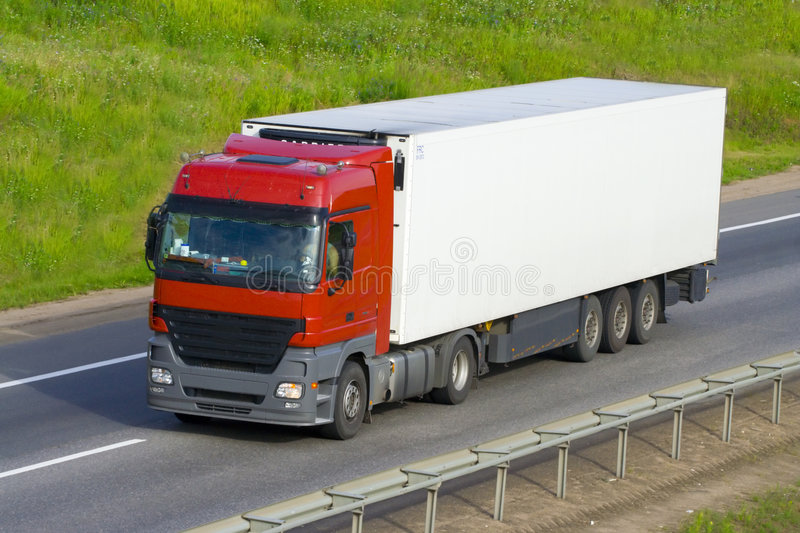 The truck on a road royalty free stock photo