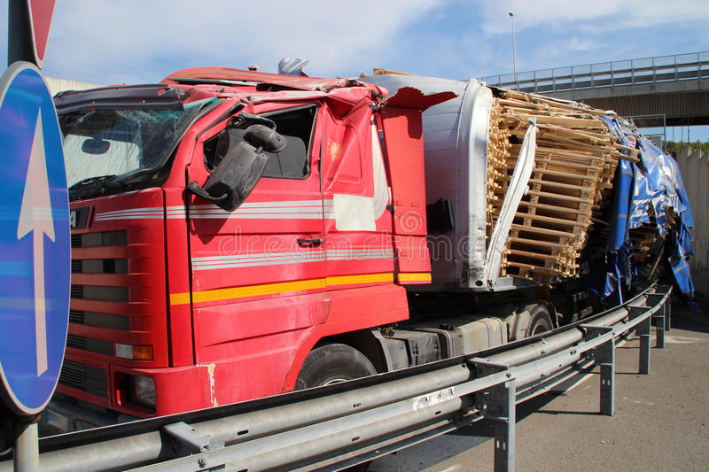 Truck of road, accident royalty free stock photography