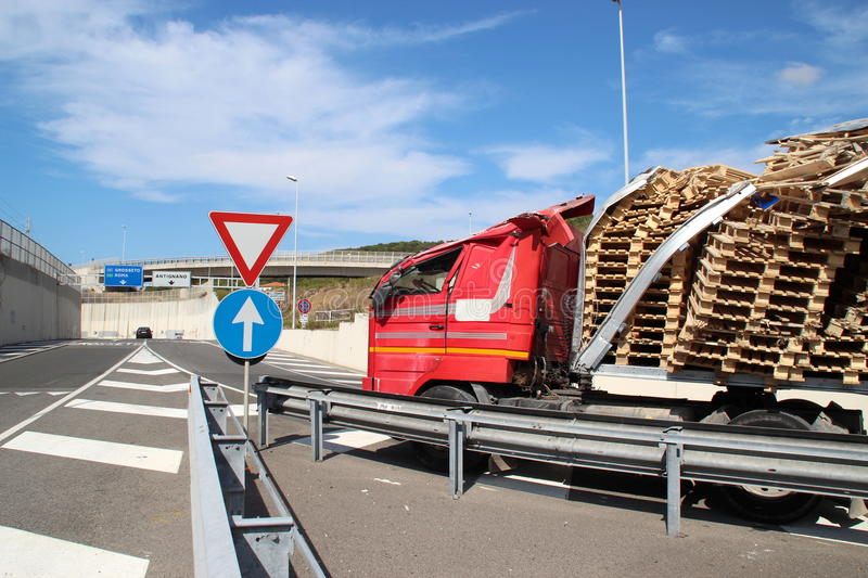 Truck of road, accident stock photography