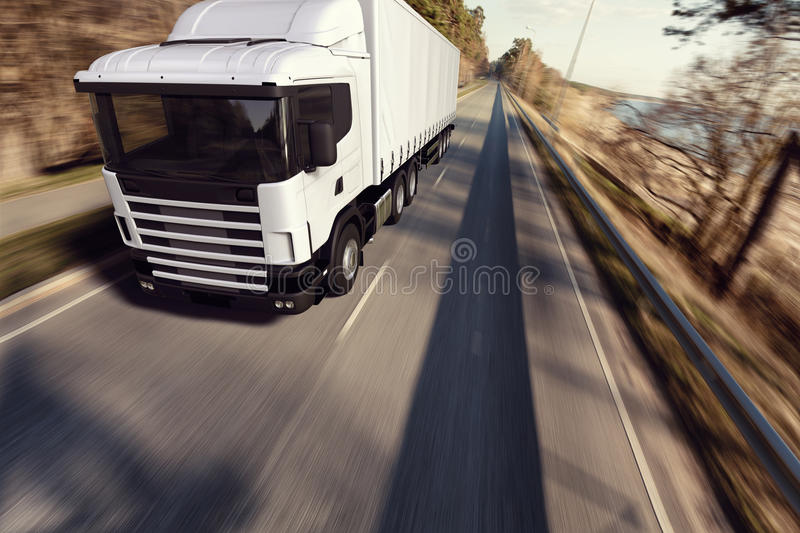 Truck on the road stock image