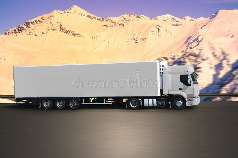 Truck on road montain stock image