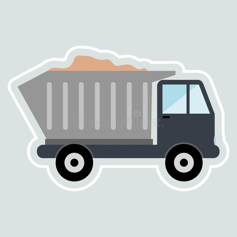 Truck with sand sticker. Vector icon vector illustration