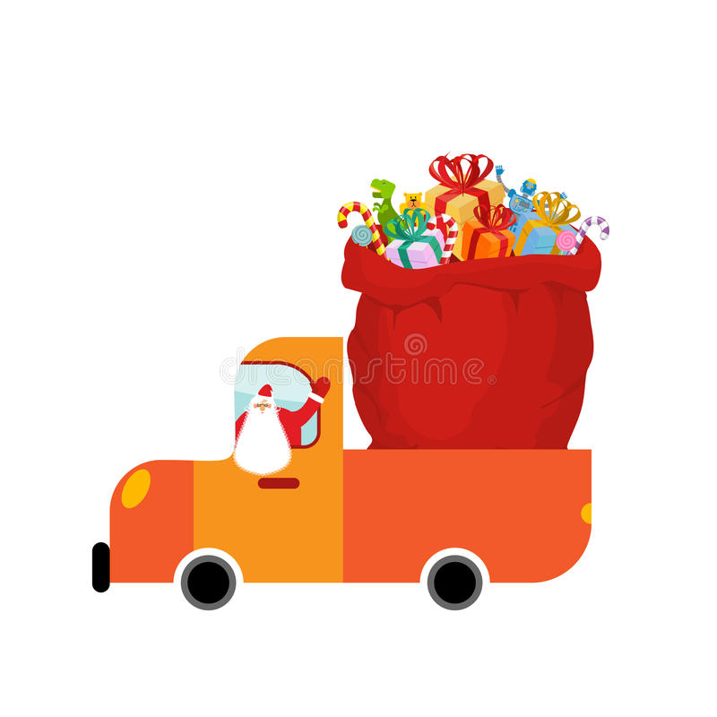 Truck Santa and red sack of gifts. Christmas car isolated. Holiday Services for New Year stock illustration