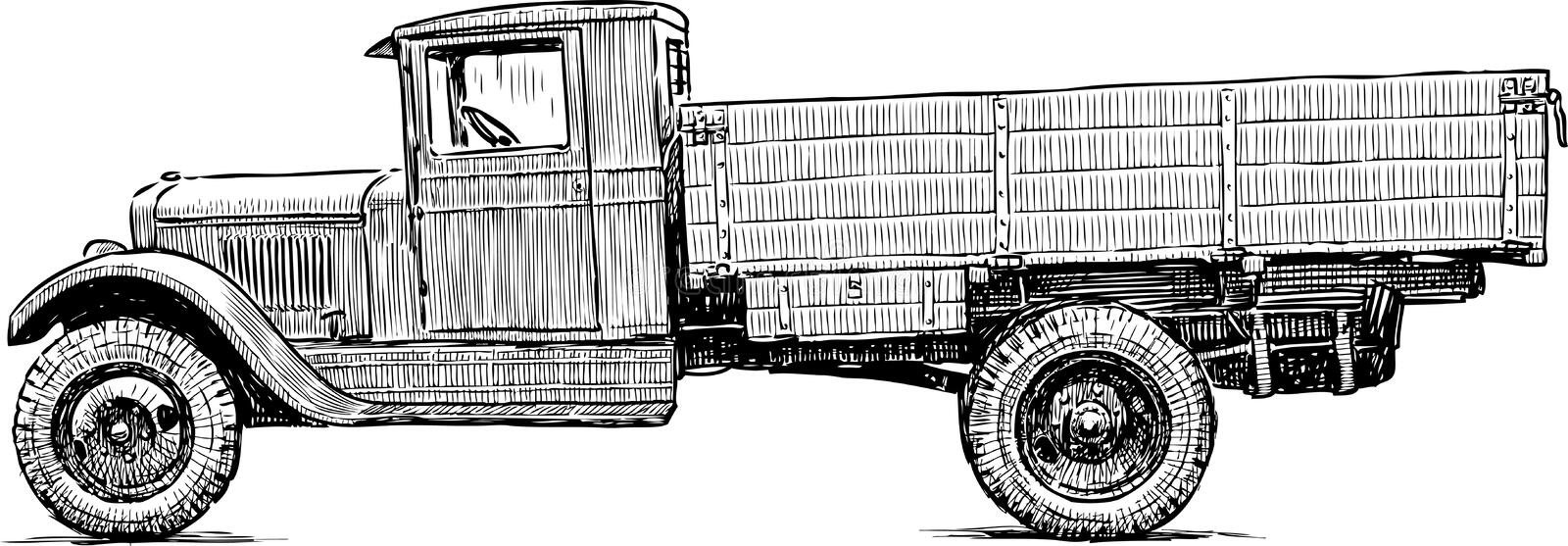 Truck of the Second World War. Vector drawing of an old truck of 20th century vector illustration