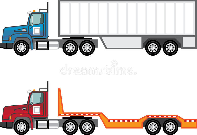 Truck semi and flatbed royalty free illustration