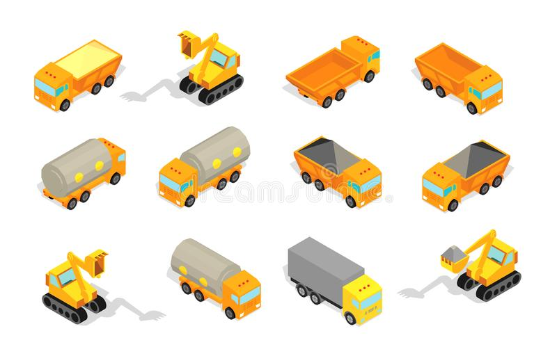 Truck set delivery industry and construction. Tractor, excavator. Truck with coal and oil and bricks. Truck set cars. Trailer delivery industry and construction stock illustration