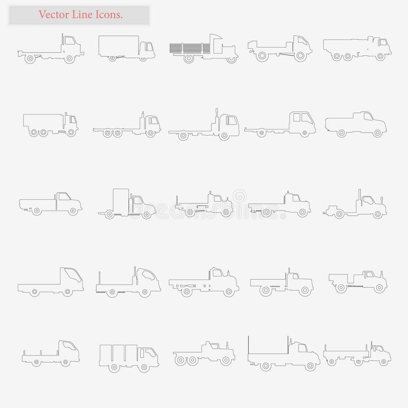 Truck Set vector style line icons on white royalty free illustration