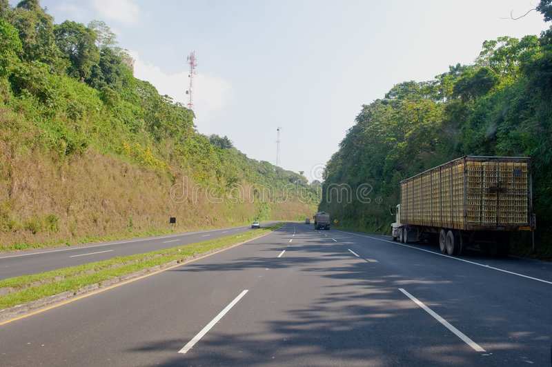 Truck on side of highway royalty free stock images