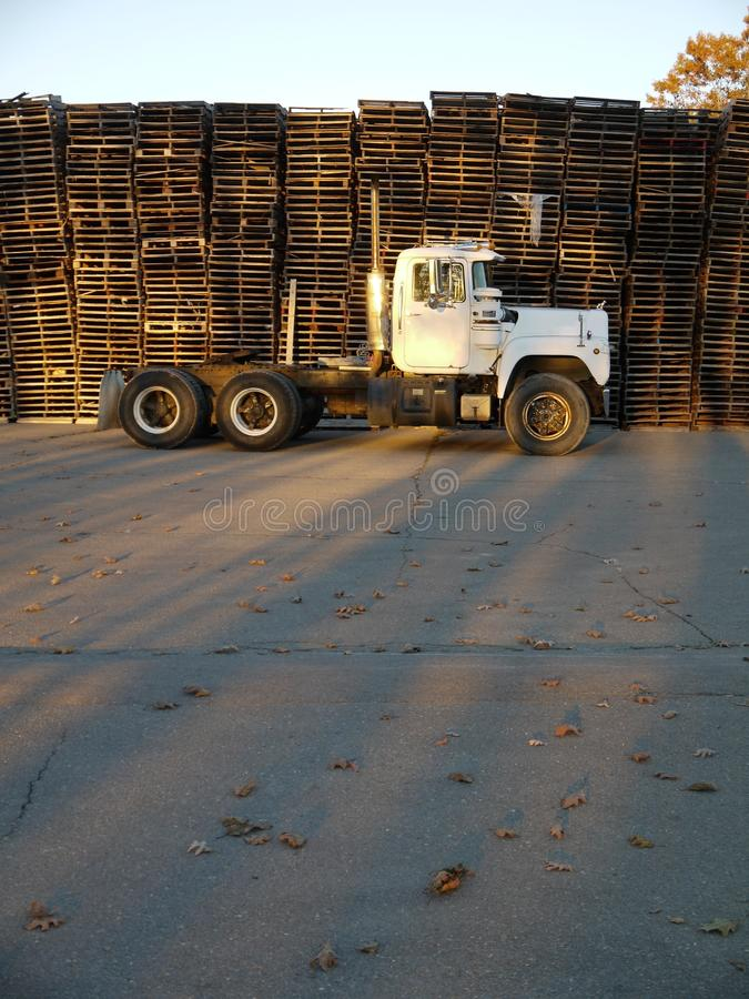 Truck: side view with stacked pallets royalty free stock photo