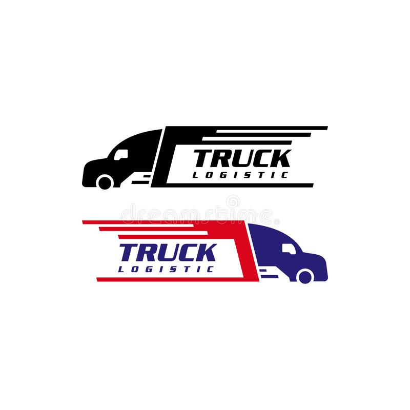 Truck silhouette logo template, logistics or delivery service label vector logo design stock illustration