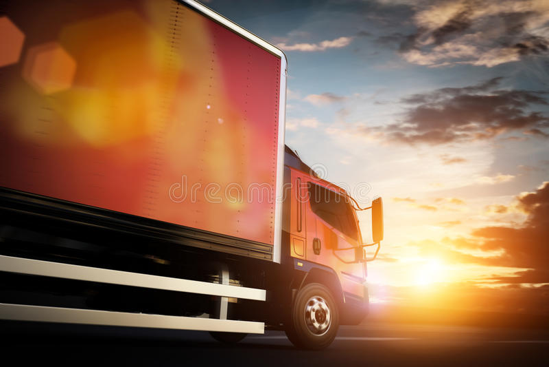 Truck speeding on the highway. Transportation stock illustration
