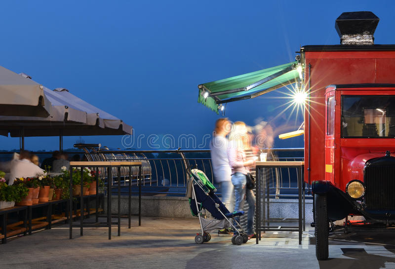 Truck of street food. Old truck of street food stock photos