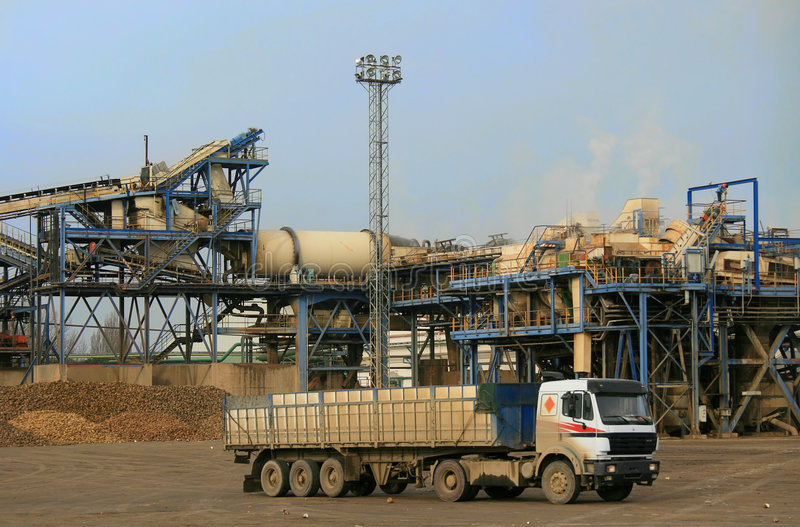 Truck in sugar refinery royalty free stock photo