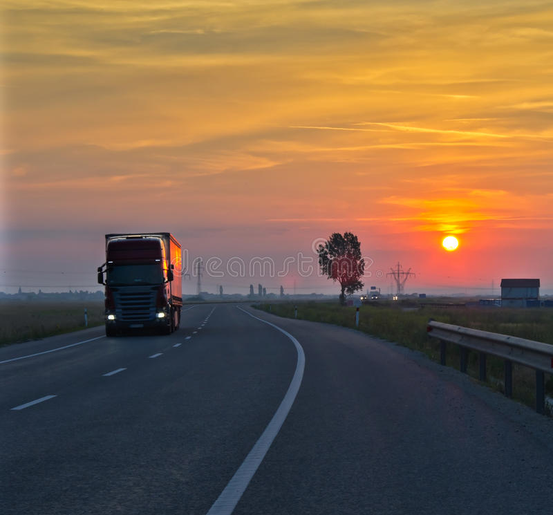 Truck at sunset royalty free stock photography