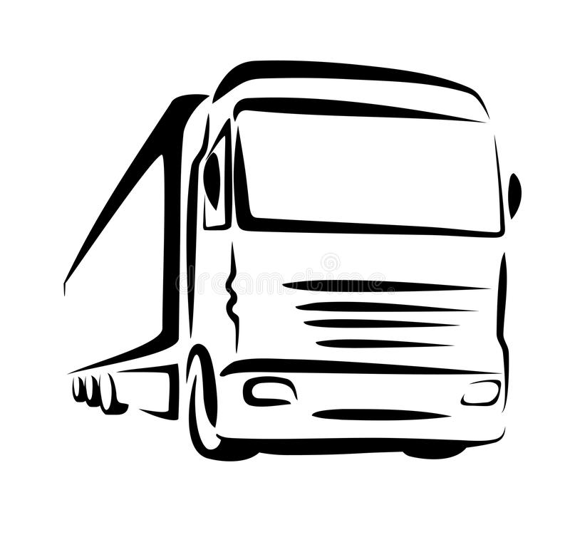 Truck symbol. Sketch in simple lines royalty free illustration