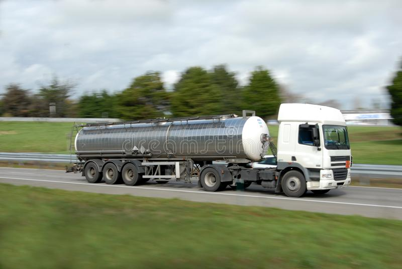 A tanker truck on a road royalty free stock image