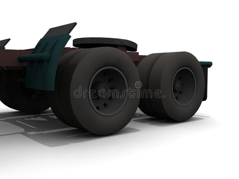 Truck tires. An illustration of a set of truck tires attached to a truck stock illustration