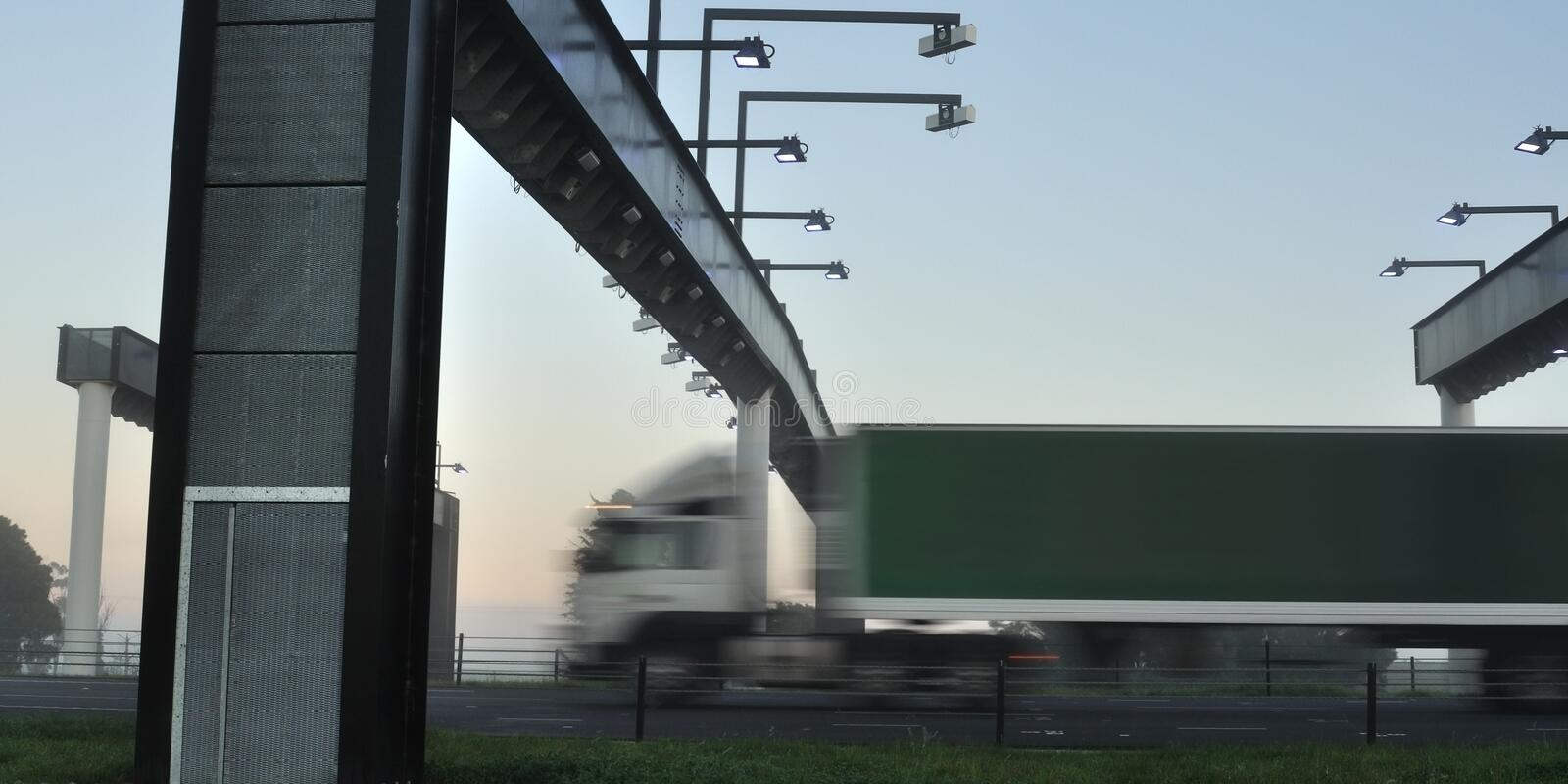 Truck at toll gate royalty free stock images