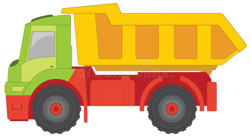 Truck toy. With green cab, yellow truck body and red machine parts royalty free illustration