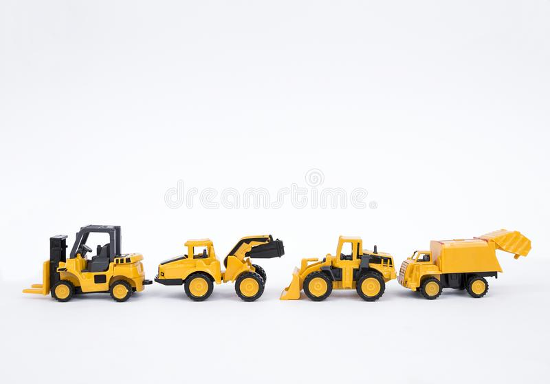 Truck toy collections isolate on white background. Industrial and construction truck stock image