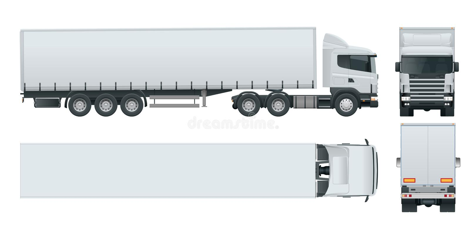Truck trailer with container. Cargo delivering vehicle template vector isolated on white View front, rear, side, top royalty free illustration