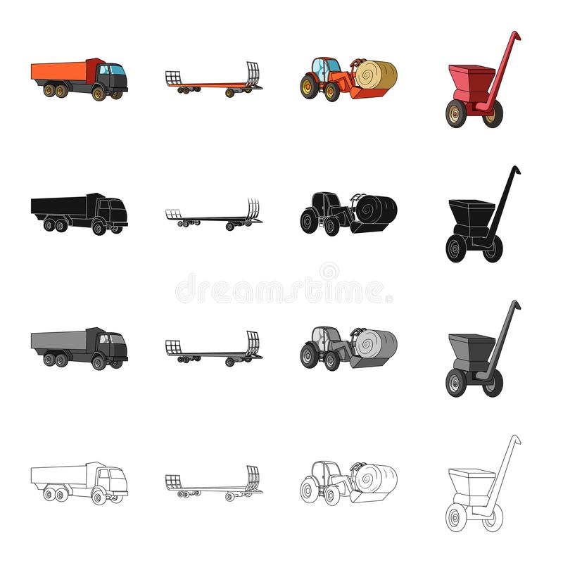 Truck, trailer for hay, tractor with a roll of hay, mobile chopper. Different types of agricultural machinery set royalty free illustration