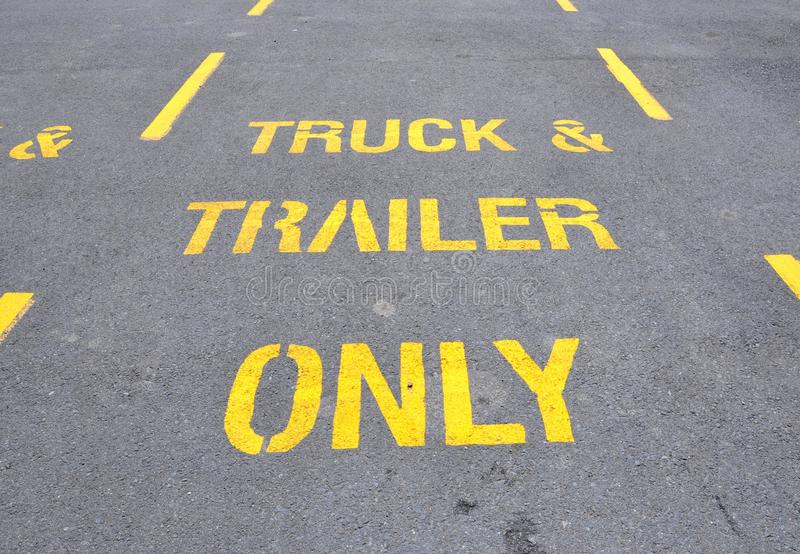 Truck and trailer parking sign stock photos