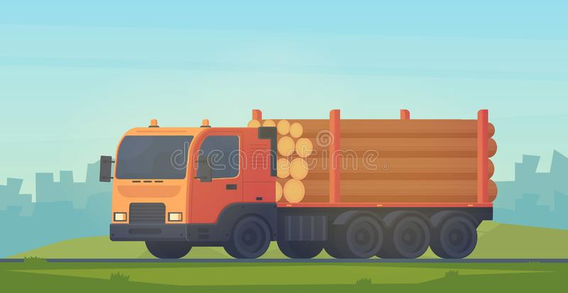 Truck with trailer for transportation of raw wood and timber products. Foresty industry. Vector flat style illustration. Logging truck with trailer for vector illustration