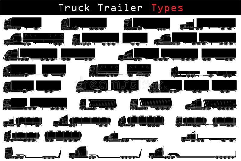 Truck trailer types. In detailed icons stock illustration