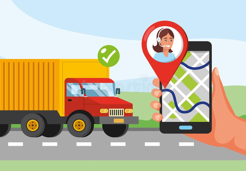 Truck transport and hand with gps location and call center service. Vector illustration royalty free illustration