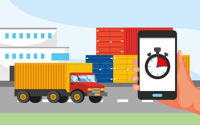 Truck transport and hand with gps location and call center service. Vector illustration stock illustration