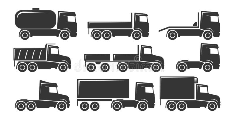Truck transport icon set royalty free stock images