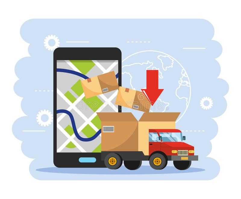 Truck transportation with box package and smartphone gps map stock illustration