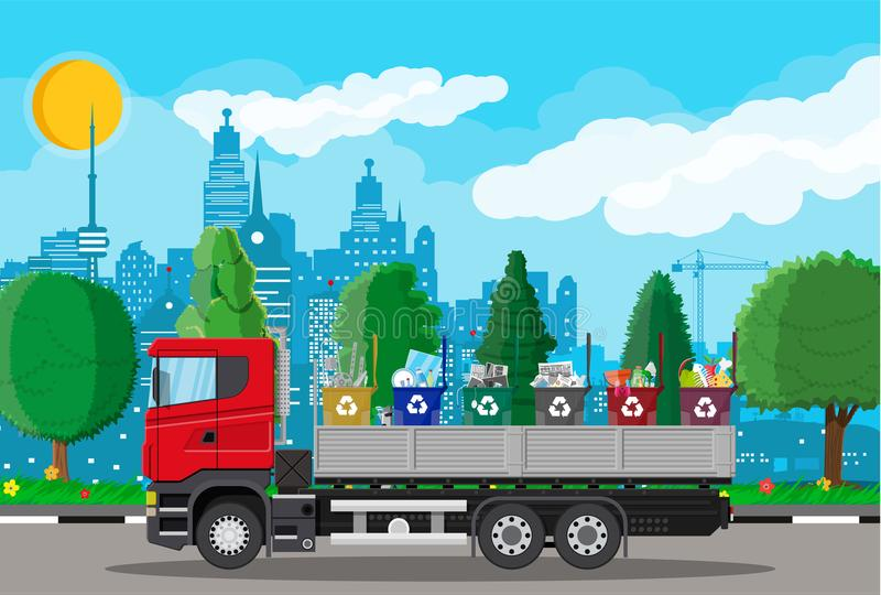 Truck for transportation garbage. Truck transportation garbage. Car waste disposal. Can container for various garbage. Waste segregation sorting. Recycling and royalty free illustration
