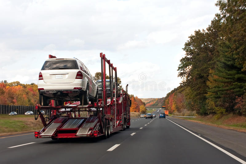 Truck Transporting Cars royalty free stock images