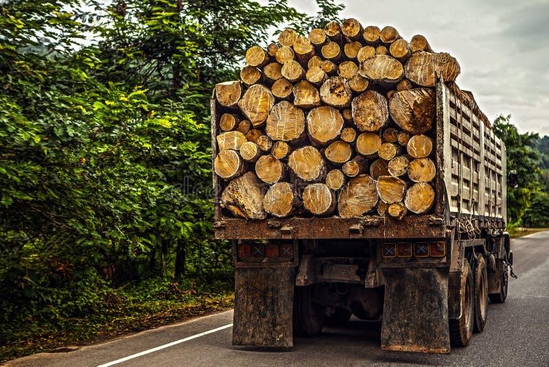 Truck transporting timber. Thailand - Phuket stock images