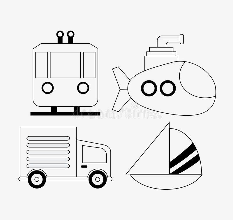 Truck trolley submarine sailboat sailboat icon, vector royalty free illustration
