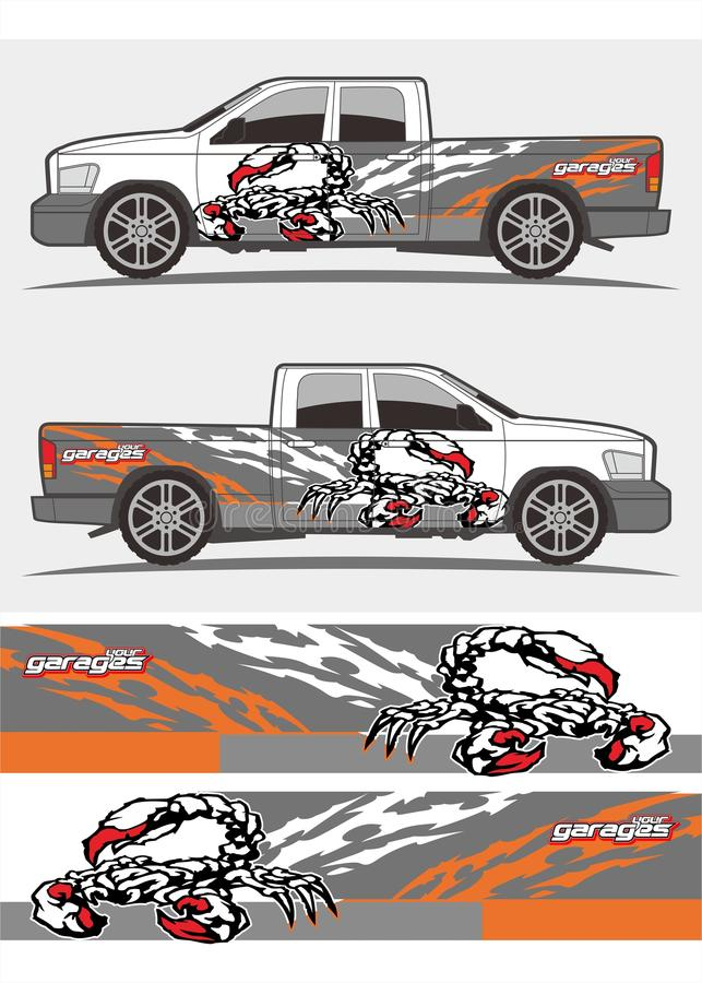 Download truck and vehicle decal graphics kits design stock vector illustration of layout marks